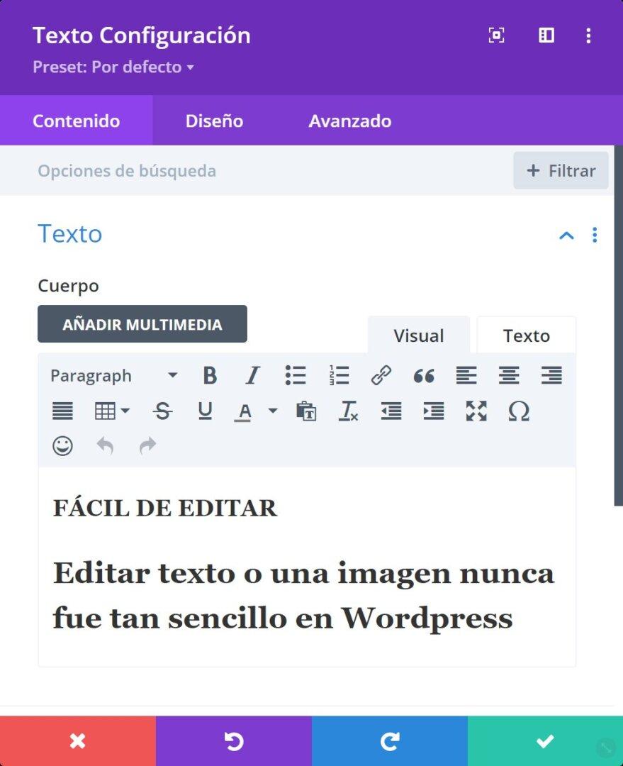 Editando texto con el constructor DIVI con el menú emergente